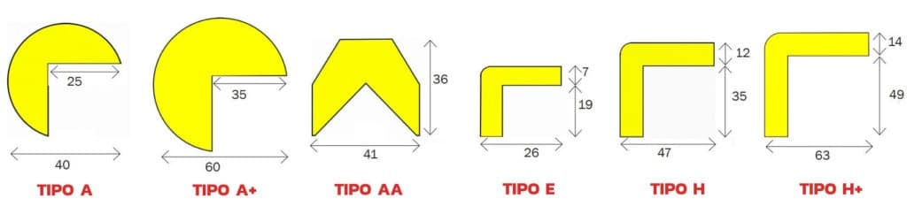 Diferentes modelos de perfiles anti golpe de poliuretano.