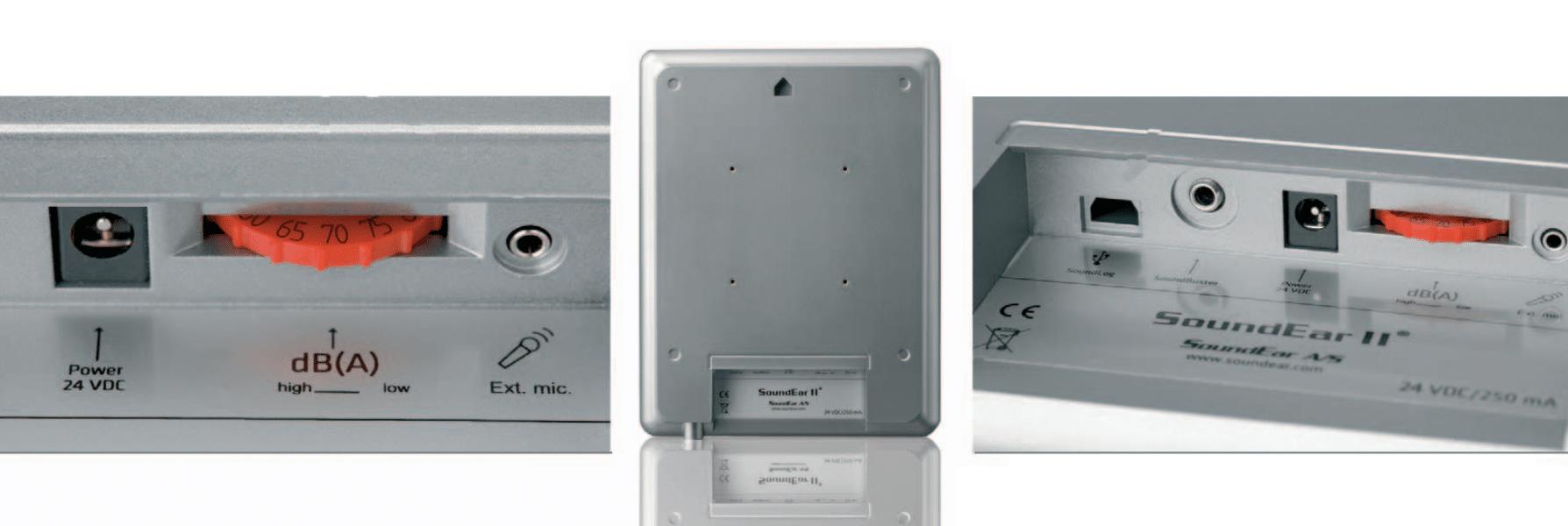 micrófono externo, rueda de control del alarma, conexión para descarga de datos.